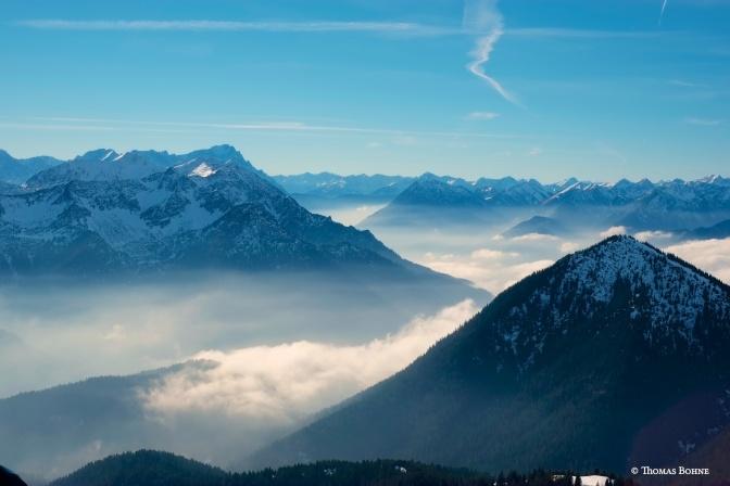 Der Blick vom Heimgarten in Richtung Zugspitze