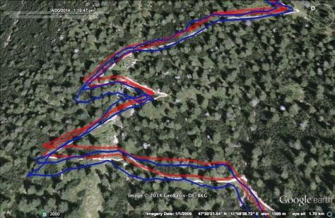 Vergleich GPSmap 62s (rot) mit Fenix 2 (blau)